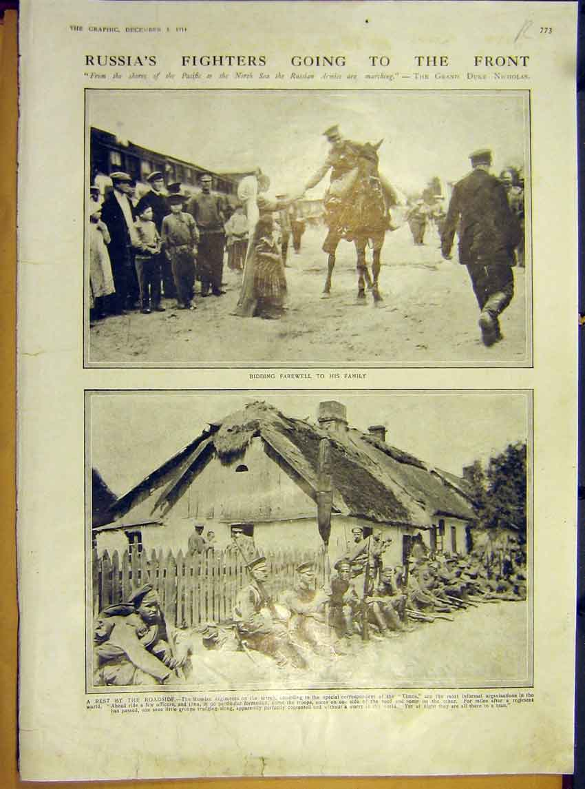 Print Ww1 Russian Soldiers Front Family Hospital Uskub 1914 73Rddd1 Old Original