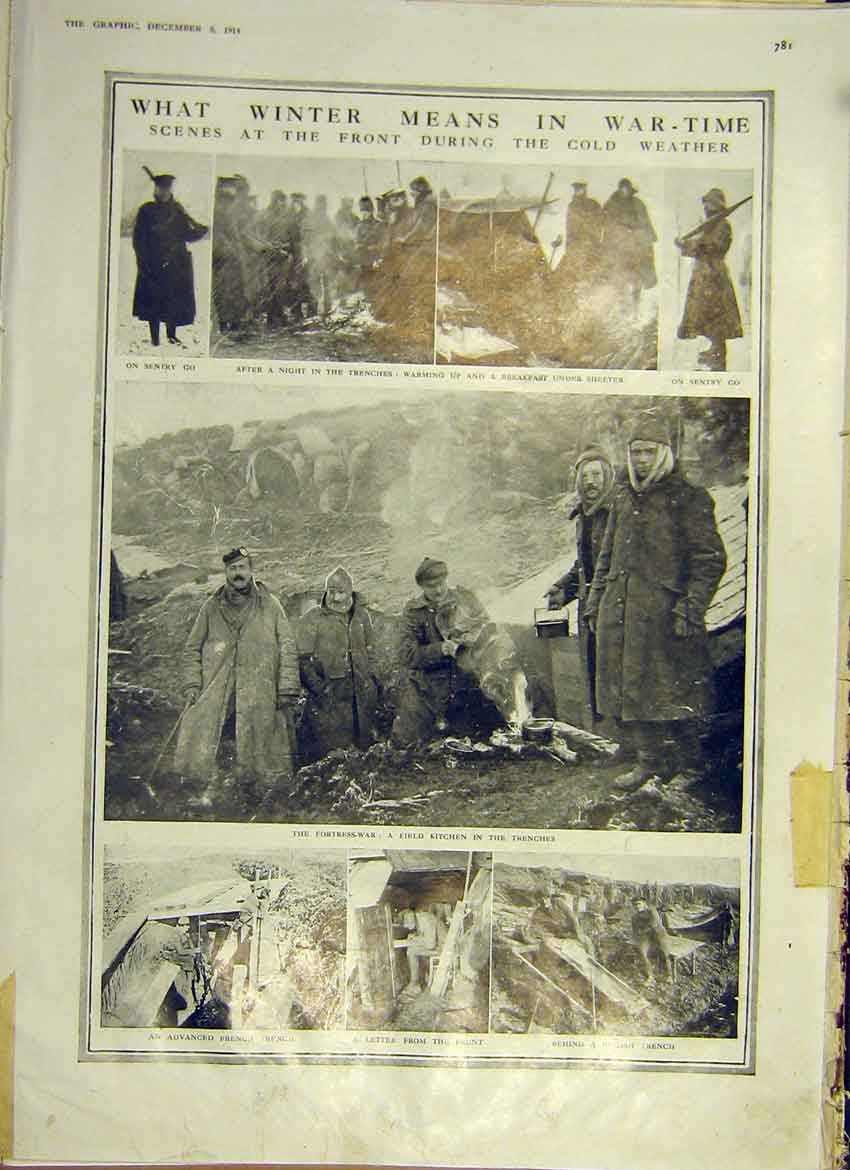 Print War Winter Ww1 Soldier Trench Weather 1914 81Ddd1 Old Original