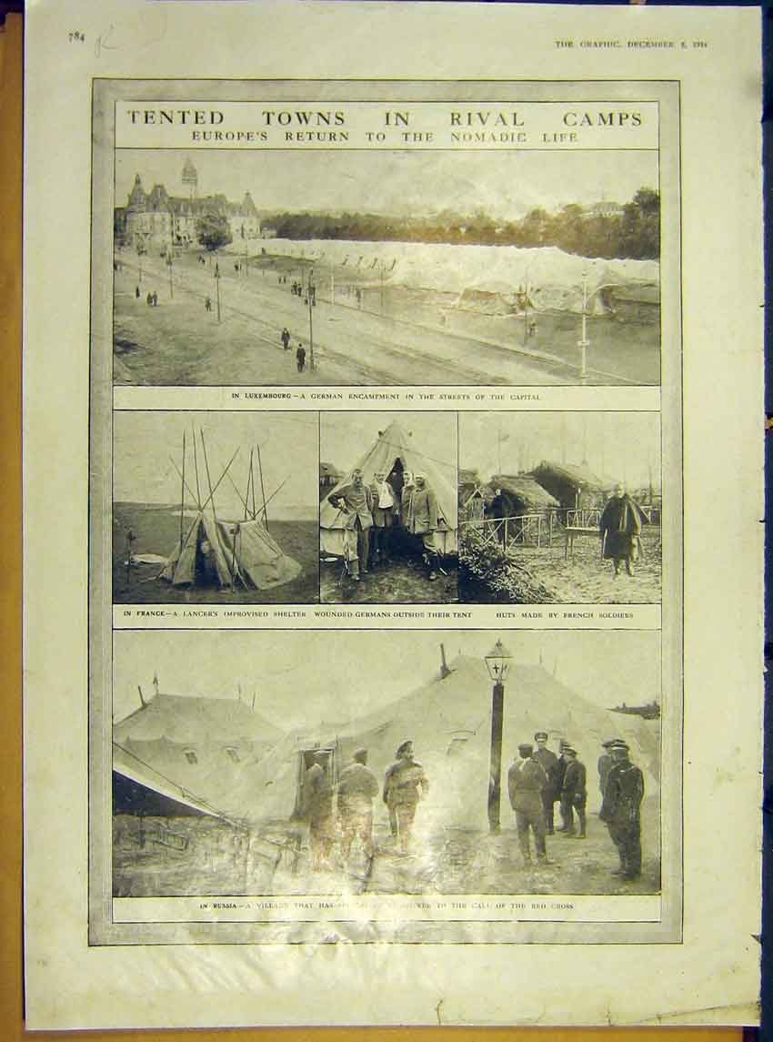 Print Ww1 Troops Tents Luxemburg Camps Officer Portraits 1914 84Rddd1 Old Original