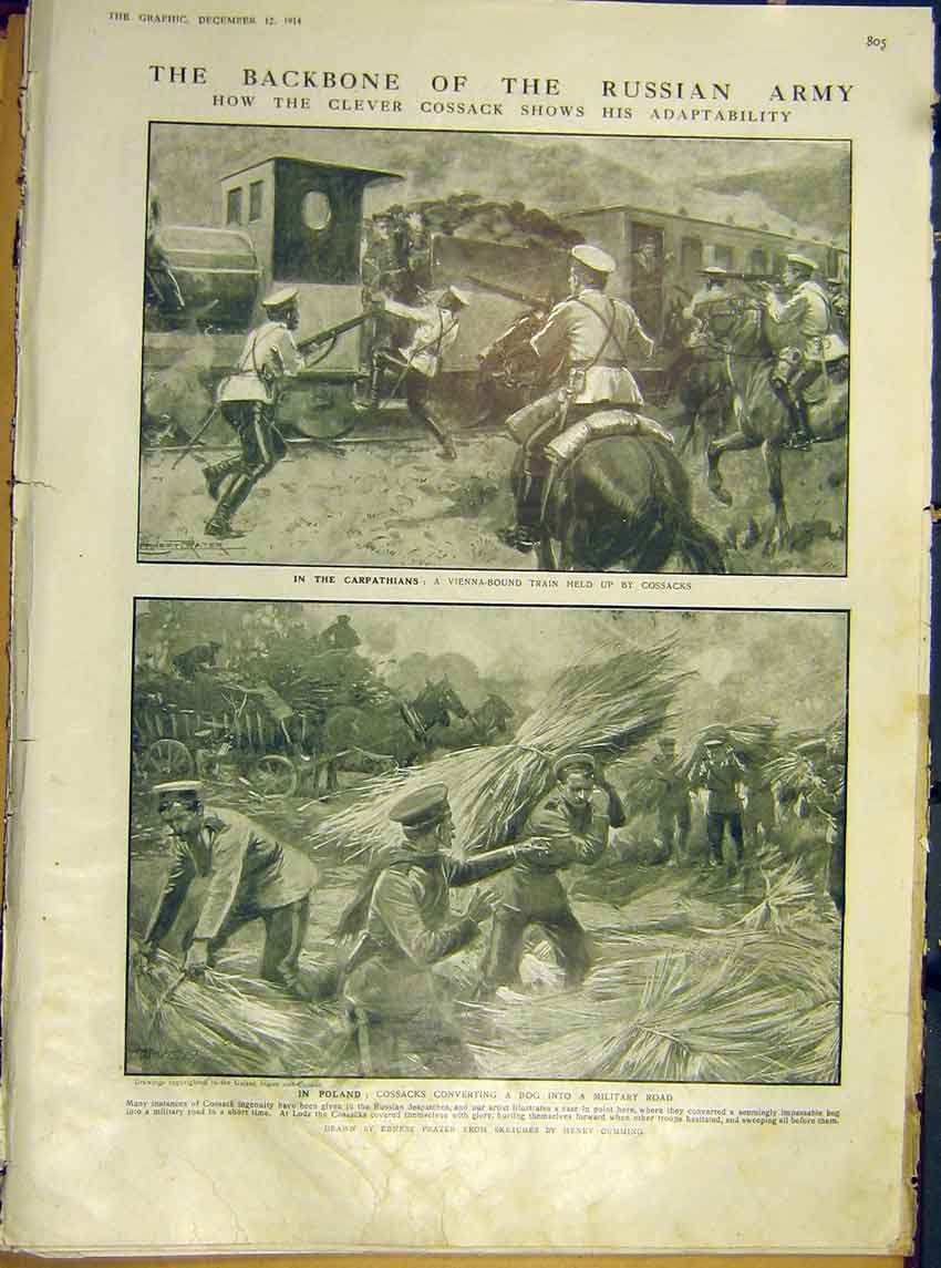 Print Ww1 Russian Cossack Army Cavalry Carpathians Poland 05Ddd1 Old Original