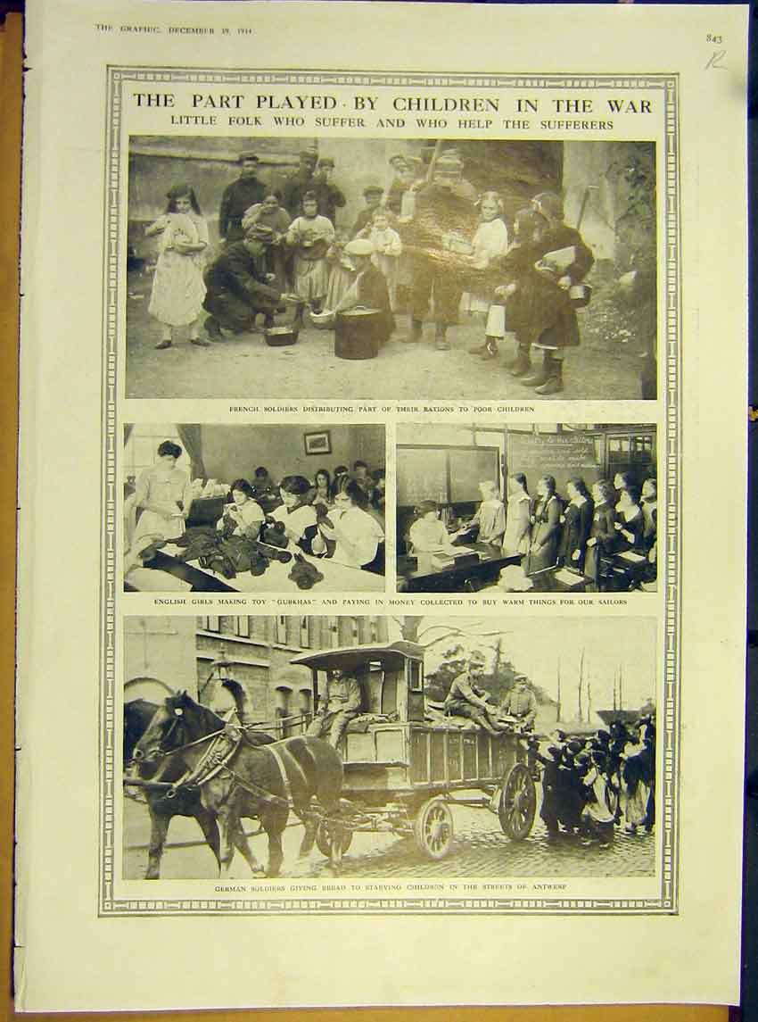 Print Ww1 Children War War-Horse Motor Corps 1914 43Rddd1 Old Original