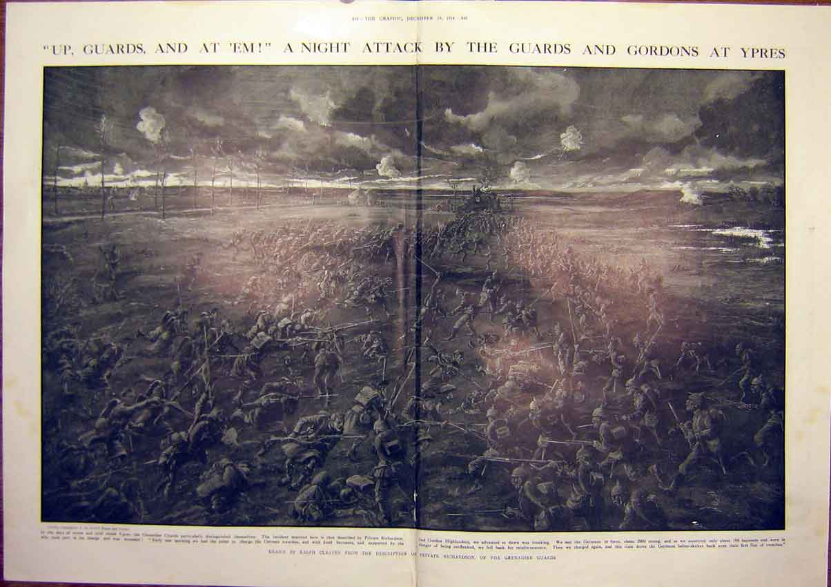 Print Ww1 Soldier French Farm Gordons Battle Bassee 1914 47Tddd1 Old Original