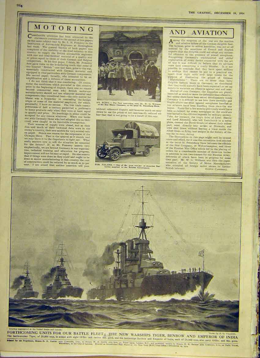 Print Motor Star Lorry Poland Battle Fleet Warship Tiger 1914 64Ddd1 Old Original