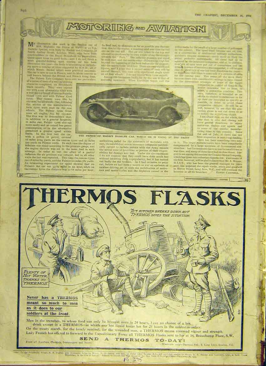 Print Motor Car Daimler Prince Wales Advert Thermos 1914 96Ddd1 Old Original