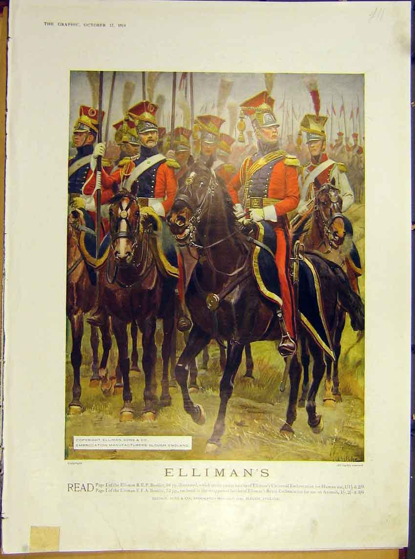 Print Advert Elliman'S Soldier Horse Guard Cavalry 1914 00Ddd1 Old Original