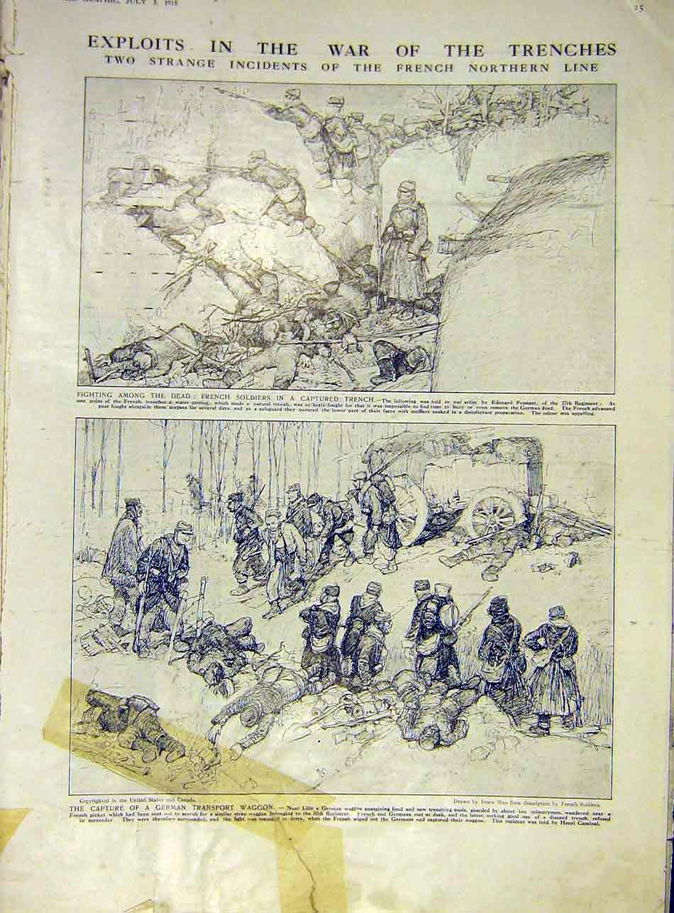 Print Trenches War Ww1 Sketches French Soldiers German 1915 25Ddd1 Old Original