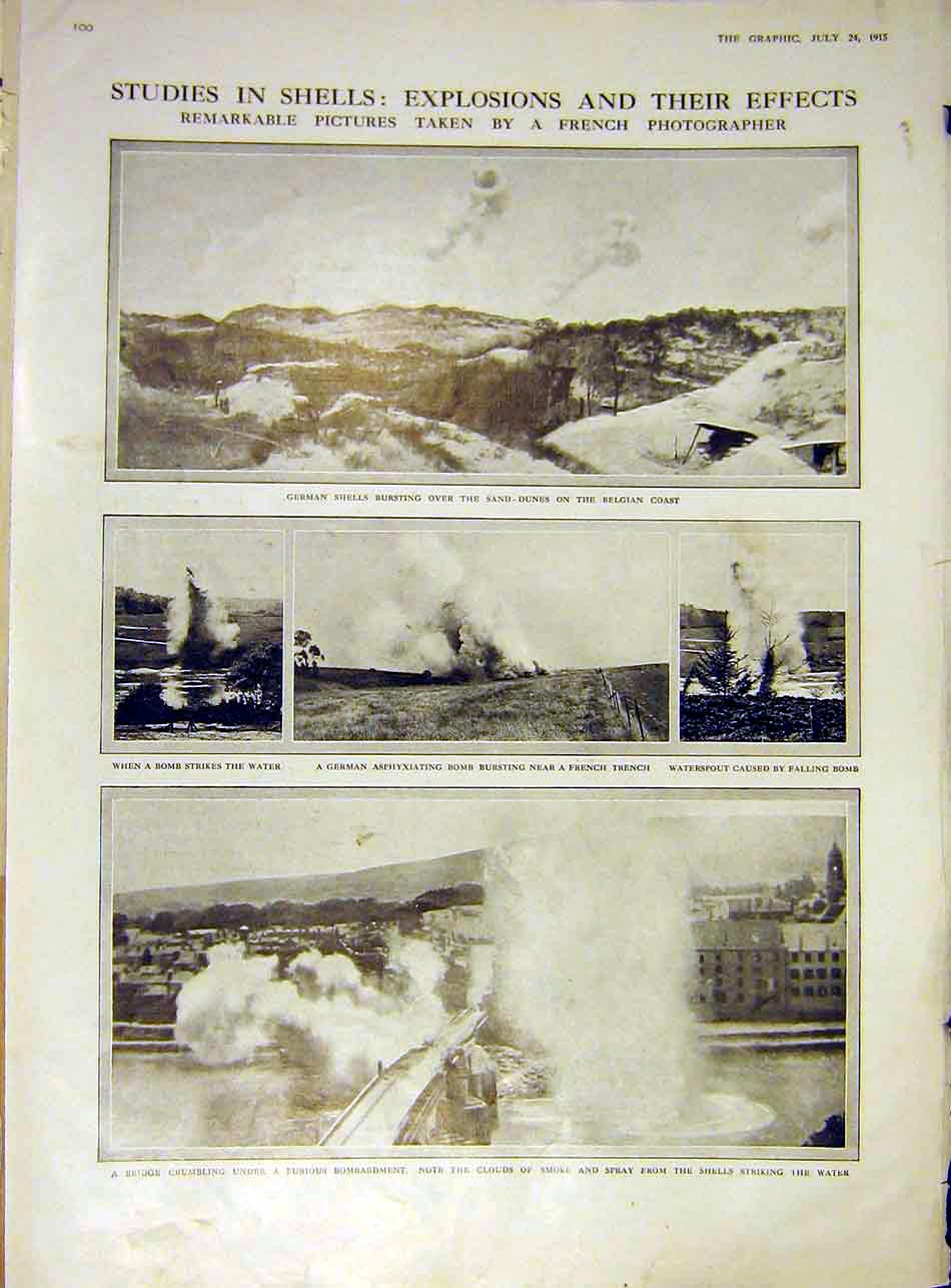 Print German Shells French Trench Bridge Ruins Bomb Ww1 1915 00Ddd1 Old Original