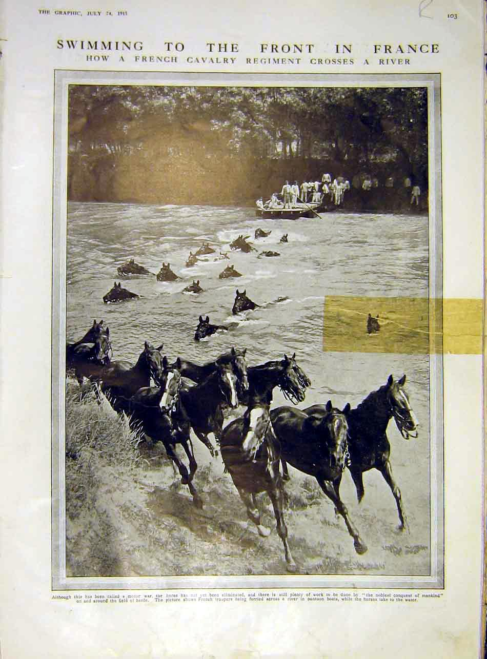 [Print River Horse Swim French Cavalry Cameroon Troops 1915 03Rddd1 Old Original]