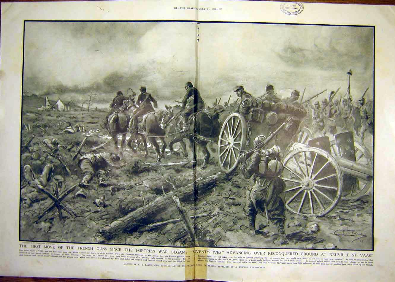 Print French Guns Ww1 Neuville St. Vaast Allied Army 1915 11Tddd1 Old Original
