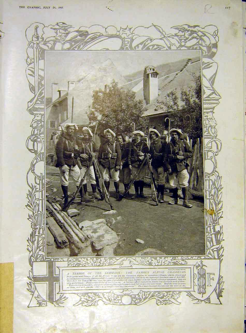 [Print Alpine Chasseur Soldier French Hospital Elysees 1915 17Rddd1 Old Original]
