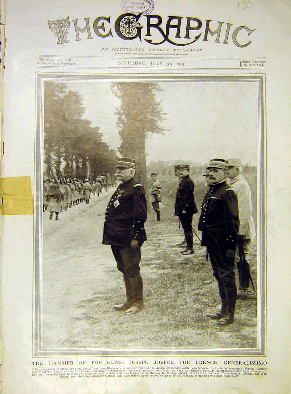 [Print Joffre French Generalissimo Army Military Ww1 1915 30Ddd1 Old Original]