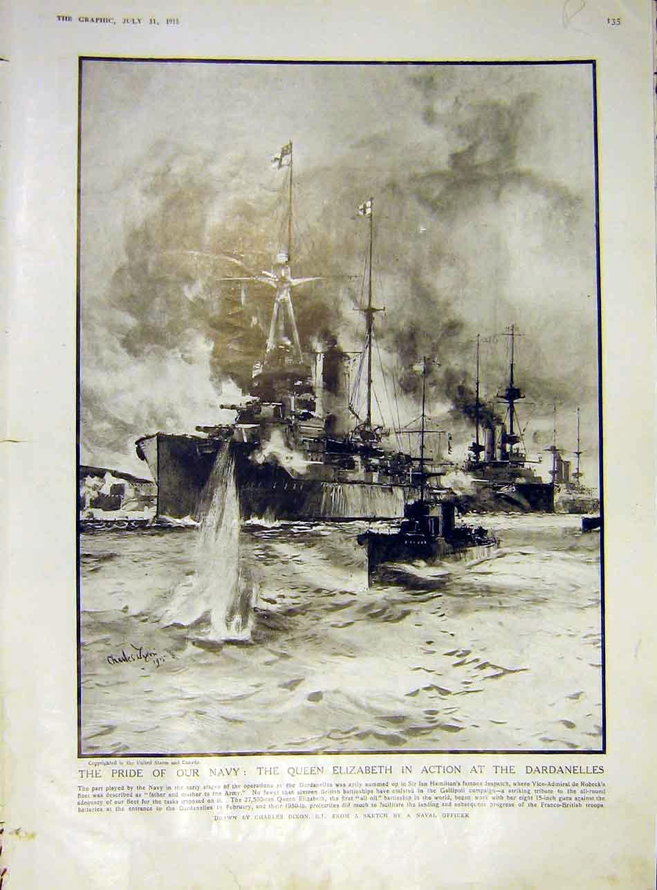 Print Navy Ship Queen Elizabeth Dardenelles Church War 1915 35Rddd1 Old Original