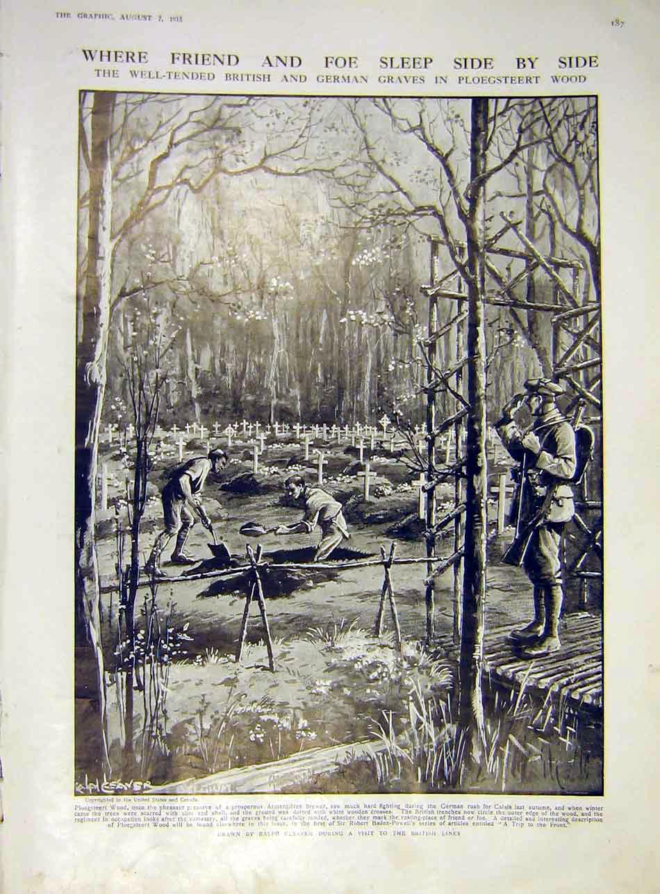 Print Ploegsteert Wood Cleaver British German Graves Ww1 1915 87Ddd1 Old Original