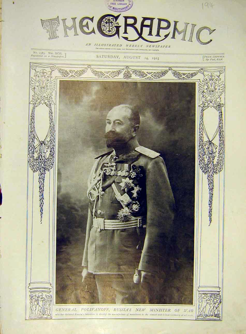 Print General Polivanoff Russia Minister War Ww1 1915 94Ddd1 Old Original