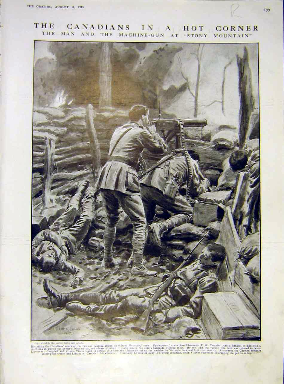 Print Canadian Soldier Machine Gun Stony-Mountain 1915 99Rddd1 Old Original