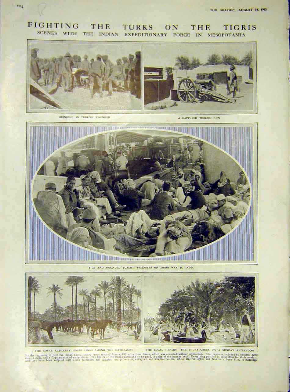 Print Turkish Tigris Gun Wounded Graves Russian Soldiers 1915 04Rddd1 Old Original
