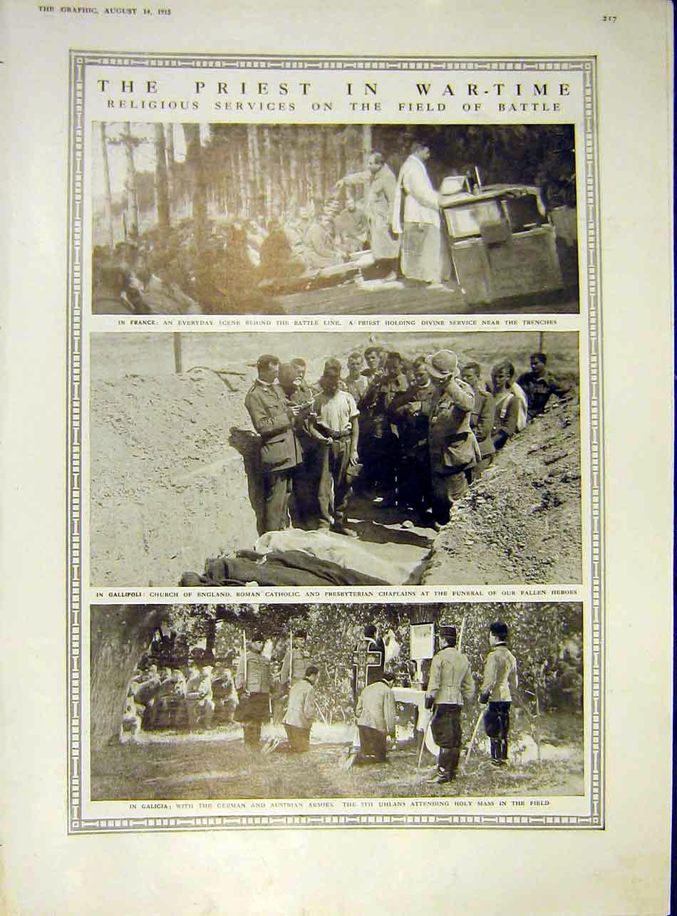 Print Priest War-Time Religious Service Battle-Field Ww1 1915 17Ddd1 Old Original