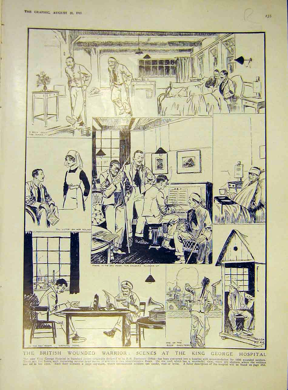 Print Sketch British Wounded Soldier Hospital Russian 1915 35Rddd1 Old Original