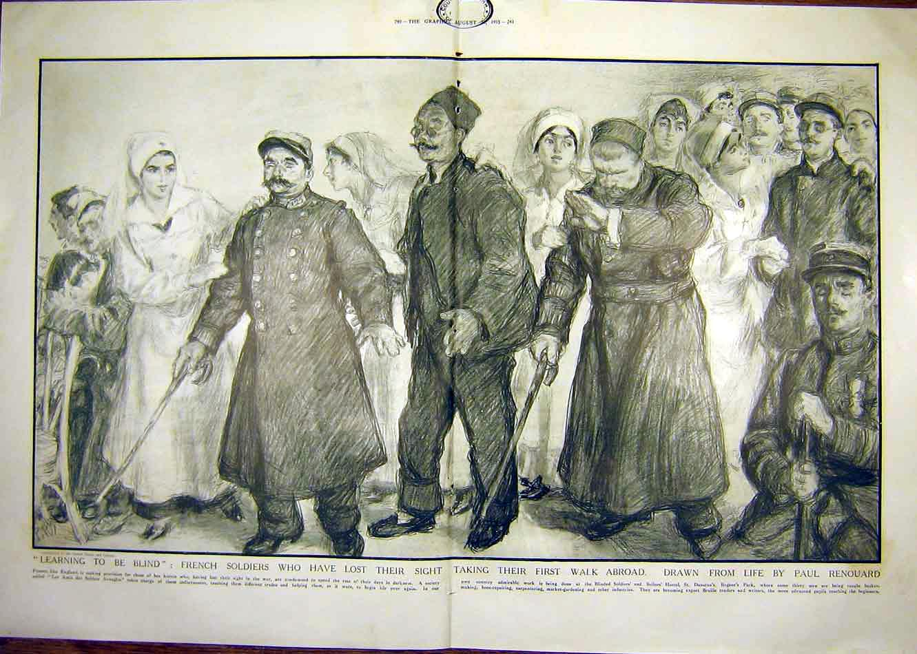 Print French Soldiers Blind Renouard Nurse Ww1 1915 War 39Tddd1 Old Original