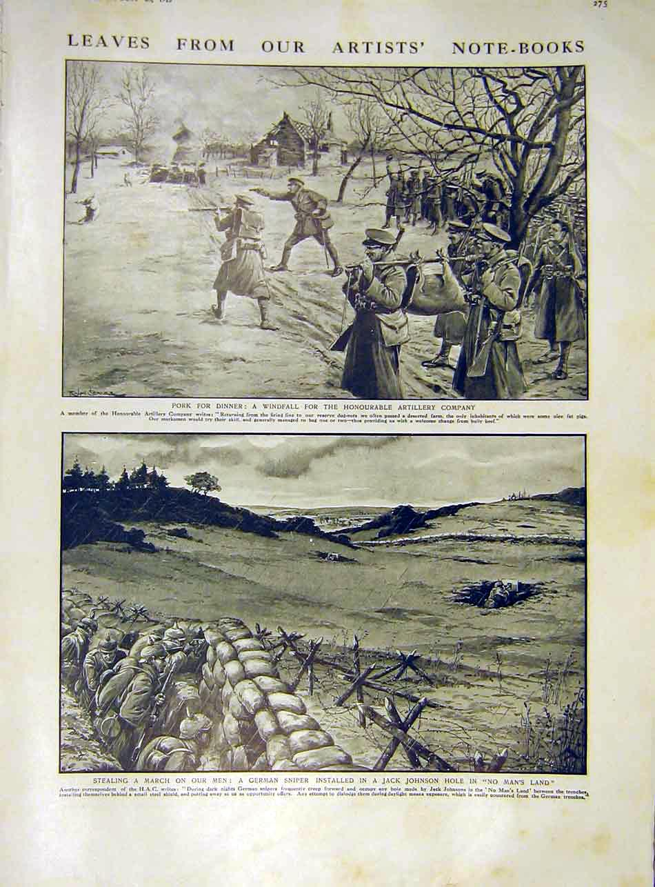 Print Artillery Pig Ww1 German Sniper Jack-Johnson Hole 1915 75Ddd1 Old Original
