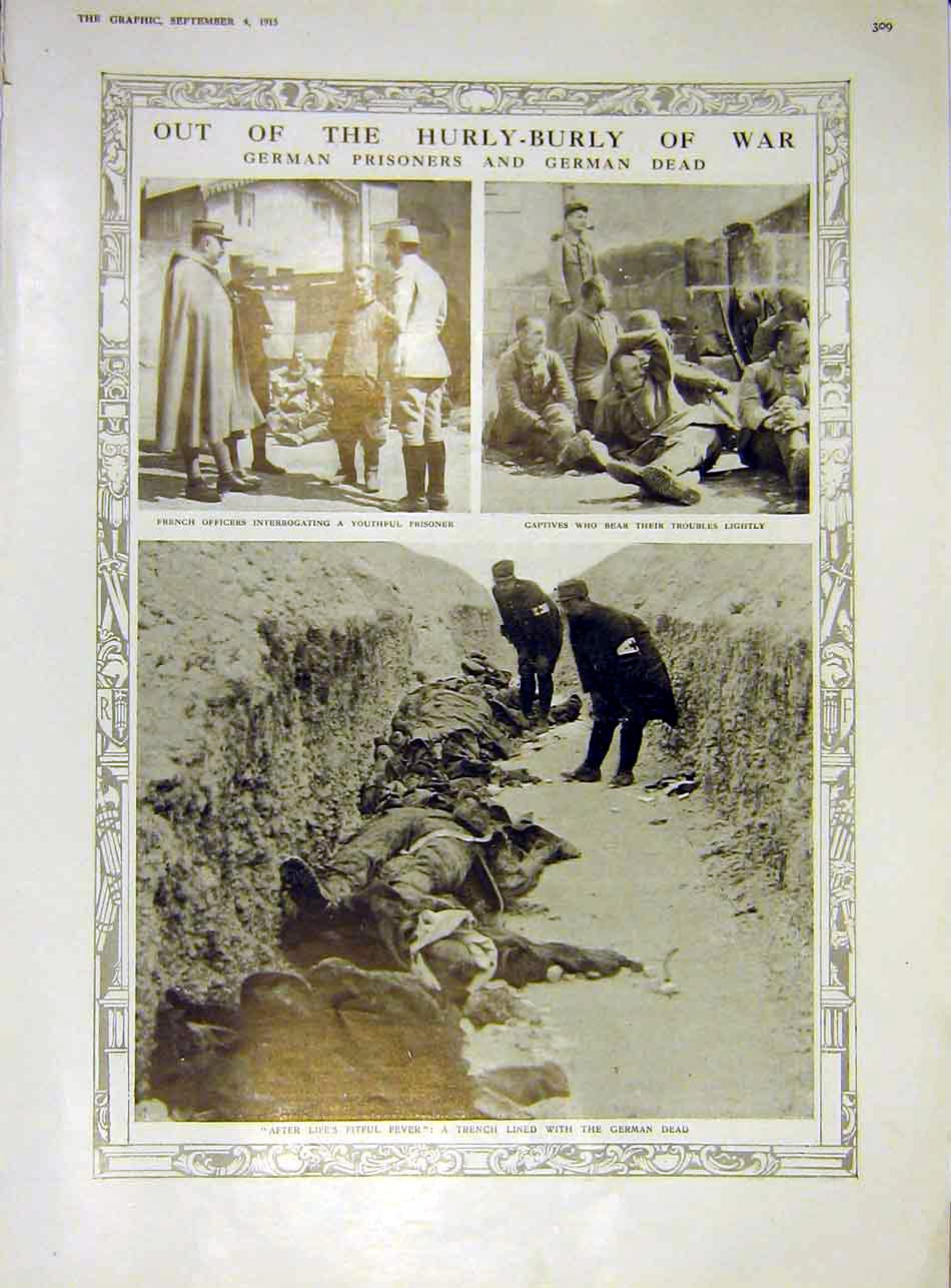 Print German Prisoners Dead Trench French Officers Ww1 1915 09Ddd1 Old Original