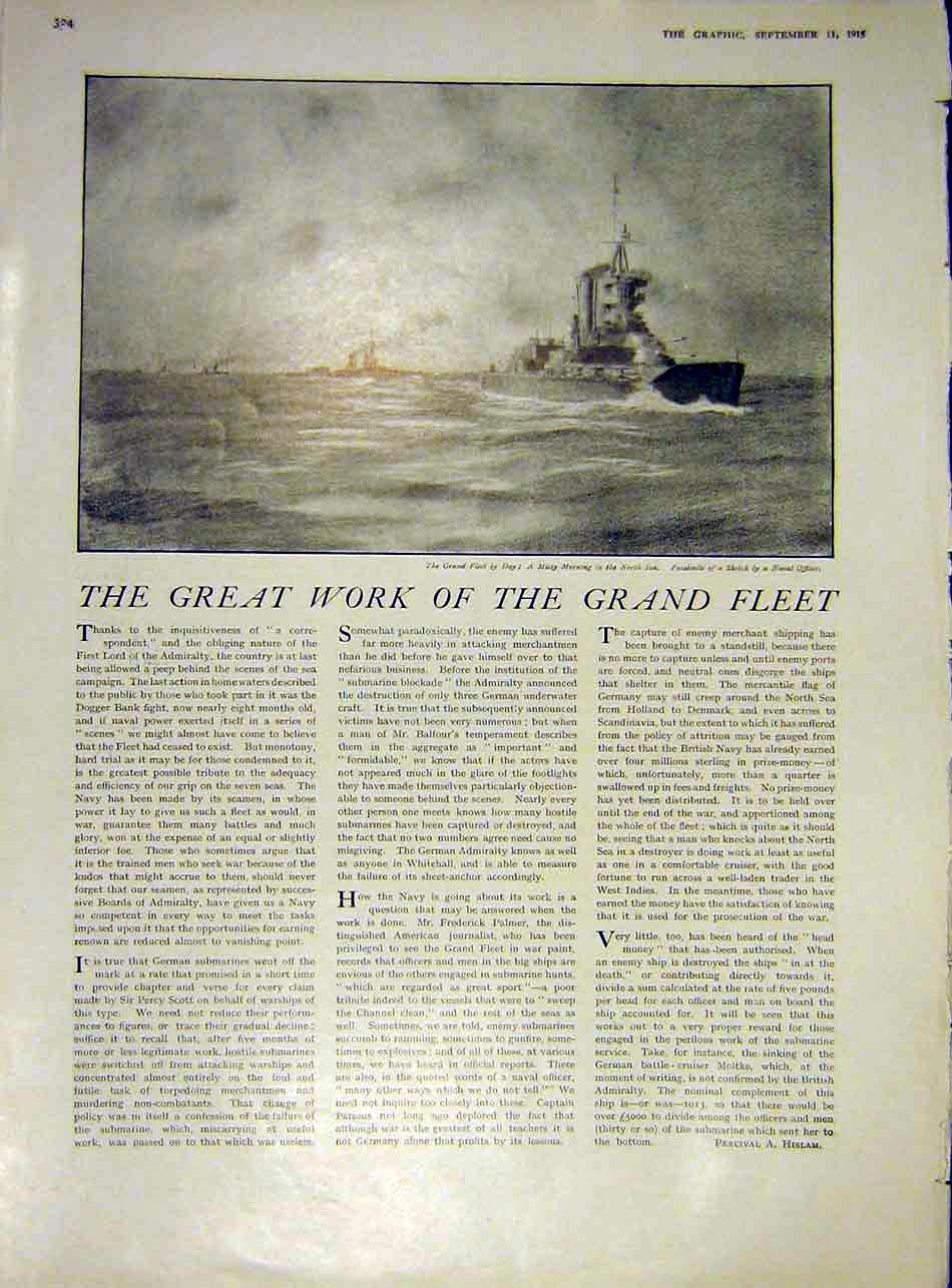 Print Grand-Fleet North-Sea Sketch Navy Ww1 1915 War 24Ddd1 Old Original