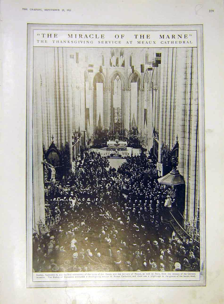 Print Marne Meaux Cathedral Teutons Warsaw Ww1 Dumba 1915 59Rddd1 Old Original