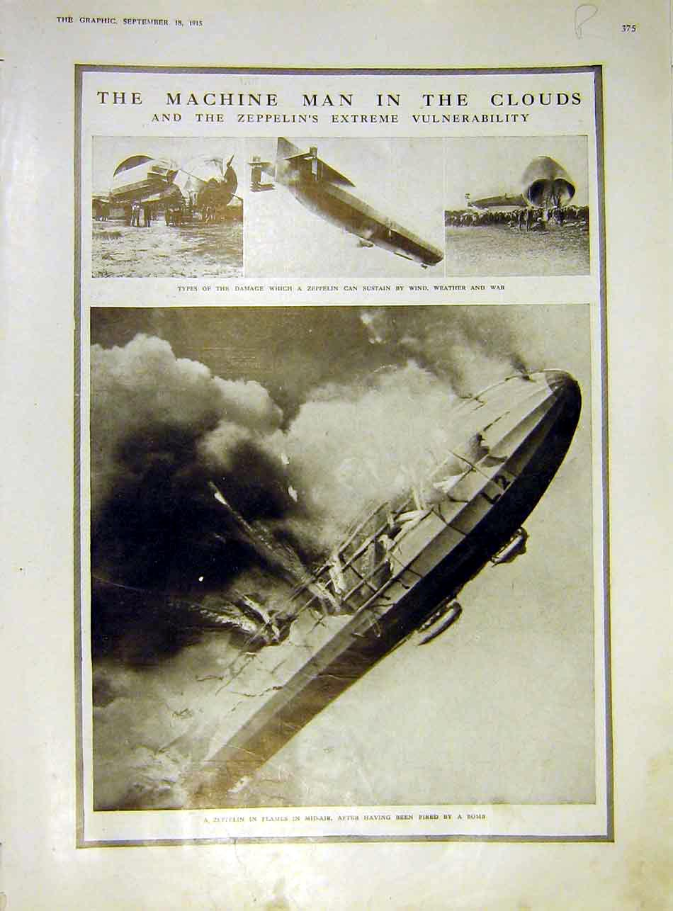 Print Zeppelin Weather Roll Honour Officers Ww1 War 1915 75Rddd1 Old Original