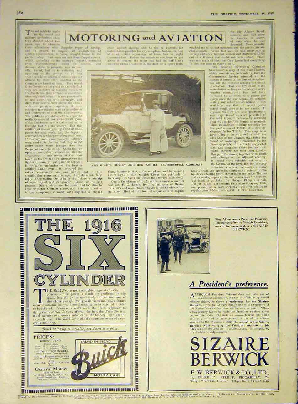 Print Bedford-Buick Cabriolet Huxley Sizaire-Berwick 1915 84Ddd1 Old Original