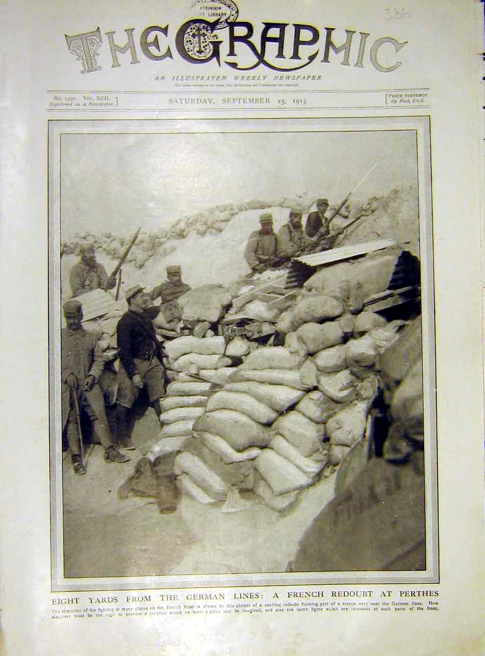 Print French Redoubt Perthes German Lines Trench Ww1 1915 86Ddd1 Old Original