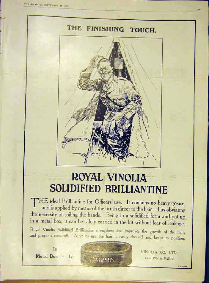 Print Royal Vinolia Brillliantine Officers War Ww1 1915 11Ddd1 Old Original