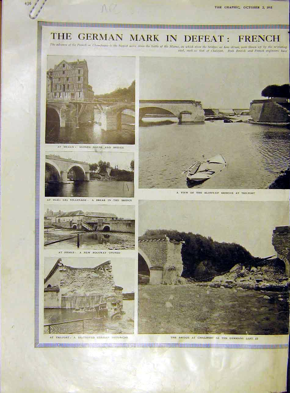 Print French Bridge Chalifert Trilport Meaux Ruins War 1915 36Addd1 Old Original