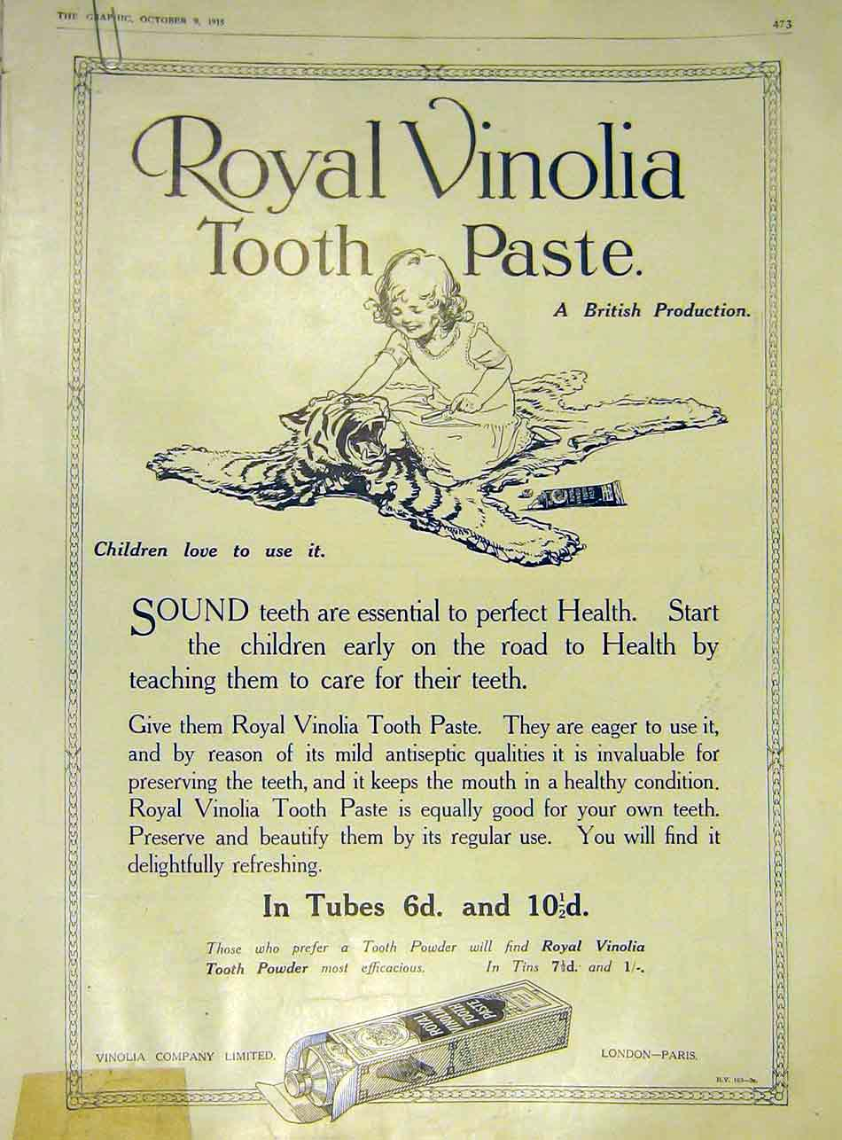 Print Royal Vinolia Tooth-Paste Child Tiger-Skin 1915 73Ddd1 Old Original