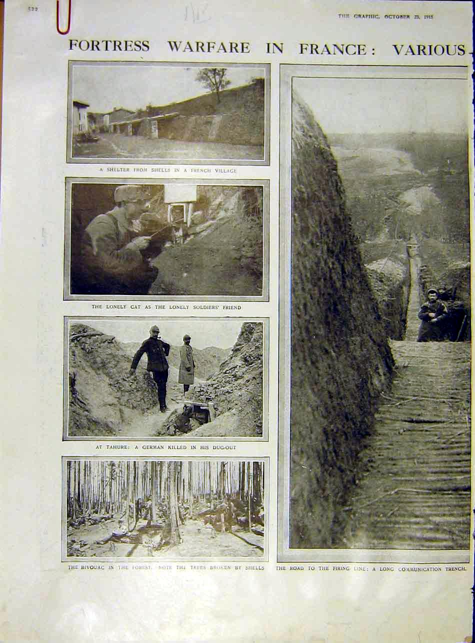 Print Fortress War-Fare France Trench Mortar Bivouac 1915 Ww1 22Addd1 Old Original