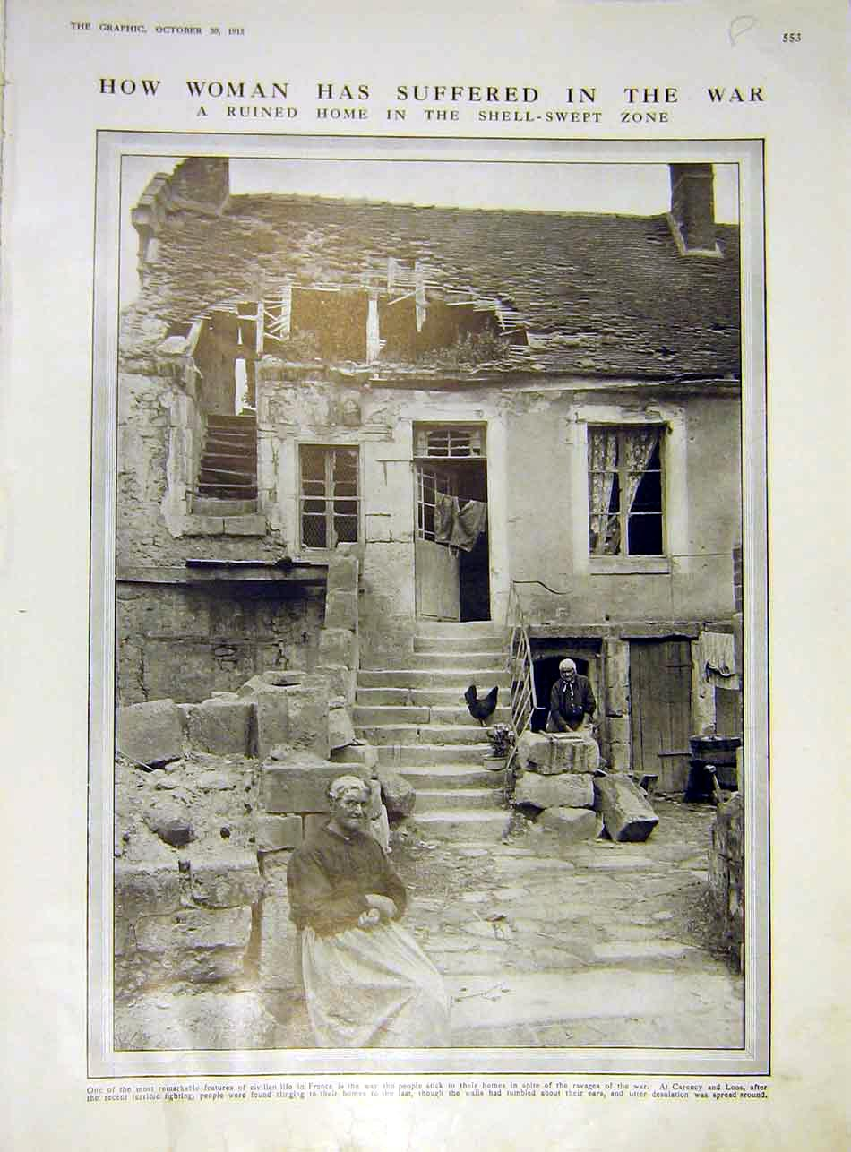 Print Woman War Ww1 Ruins Flemish Church Oude-Cappelle 1915 53Rddd1 Old Original