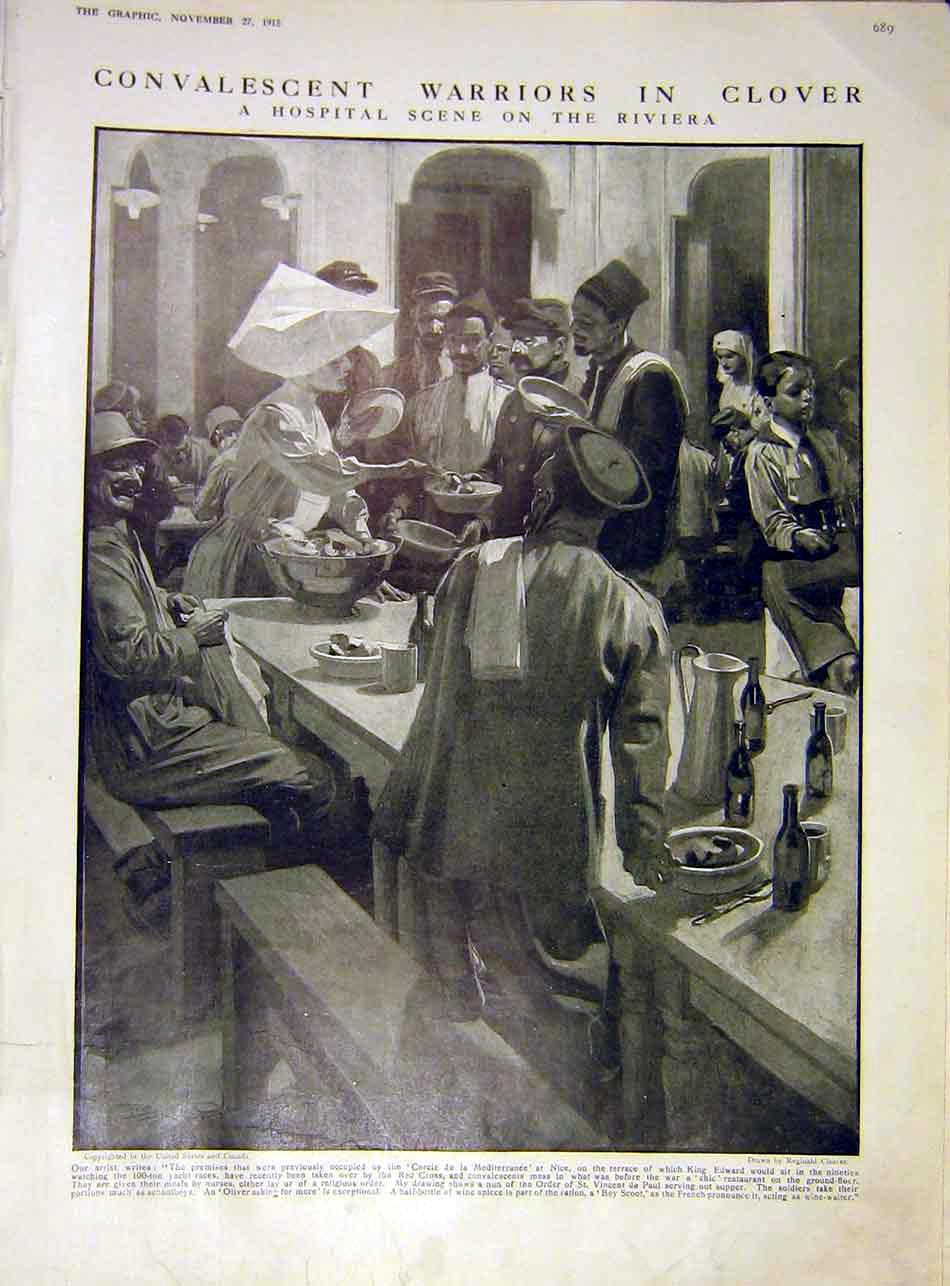 [Print Hospital Clover Warriors Soldiers Nurse Ww1 War 1915 89Ddd1 Old Original]
