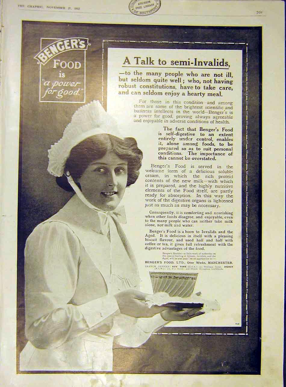 [Print Benger'S Food Semi-Invalids 1915 Advert 01Ddd1 Old Original]