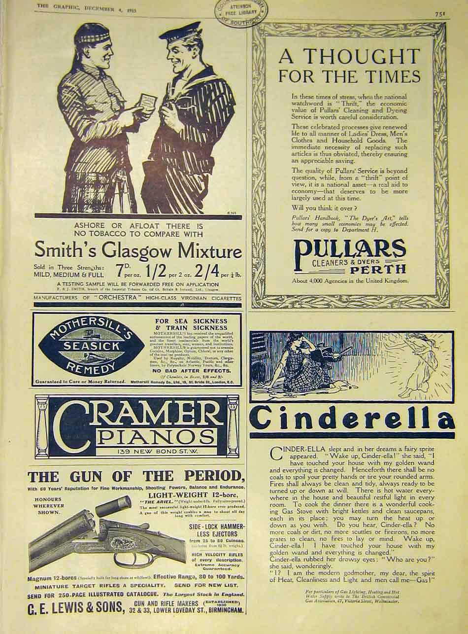 Print Advert Smith'S Glasgow Pullars Cramer Lewis 1915 51Ddd1 Old Original