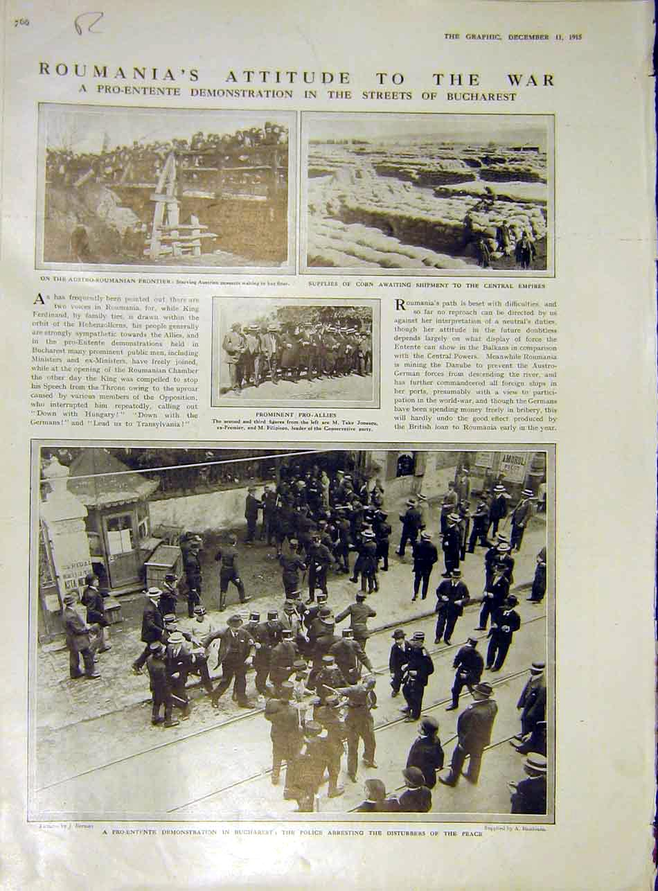 [Print Roumania Bucharest Mufti Recruits Troops Ww1 1915 66Rddd1 Old Original]