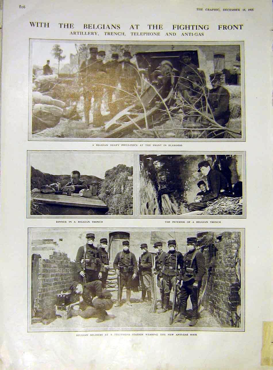 Print Belgian Artillery Trench Telephone Anti-Gas Soldier Ww1 06Ddd1 Old Original