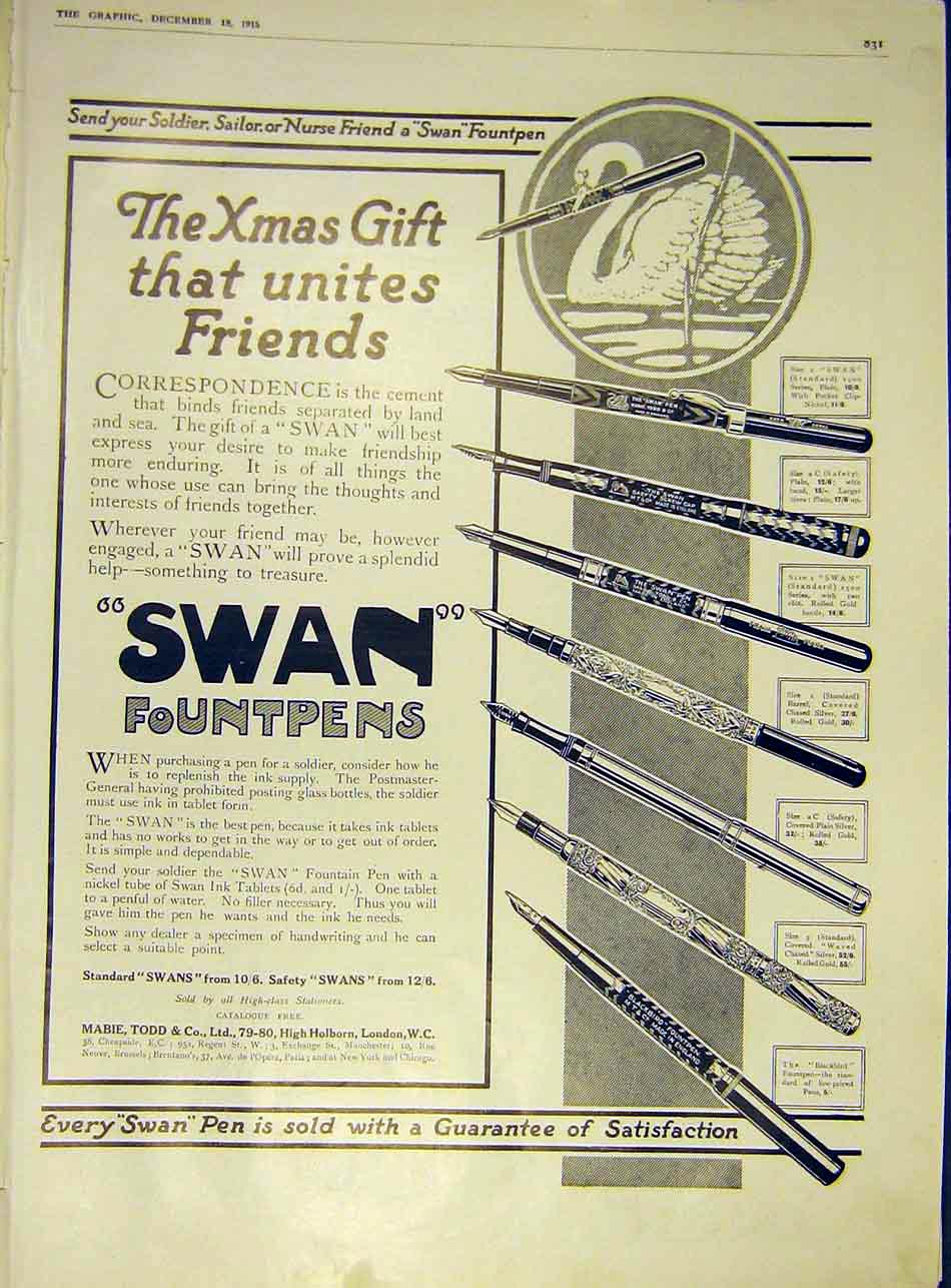 Print Swan Fountpens Advert 1915 31Ddd1 Old Original
