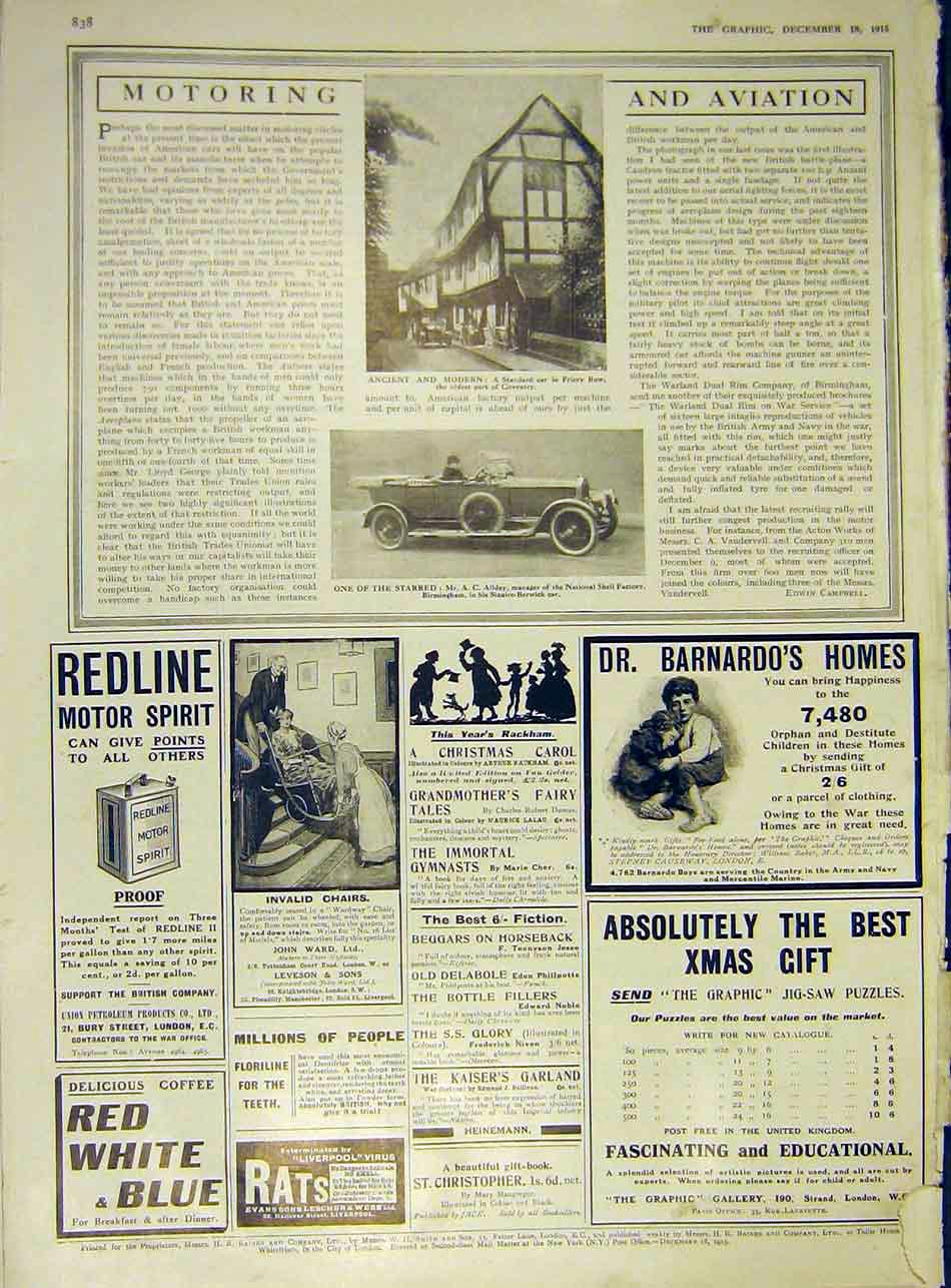 [Print Standard Car Priory Coventry Sizaire-Berwick 1915 38Ddd1 Old Original]