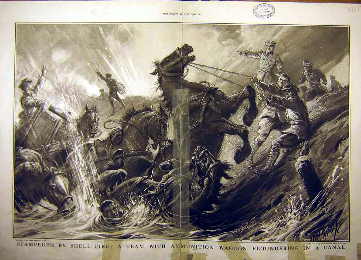 Print 1916 Shell-Fire Ww1 Ammunition Waggon Canal Soldiers 03Tddd1 Old Original