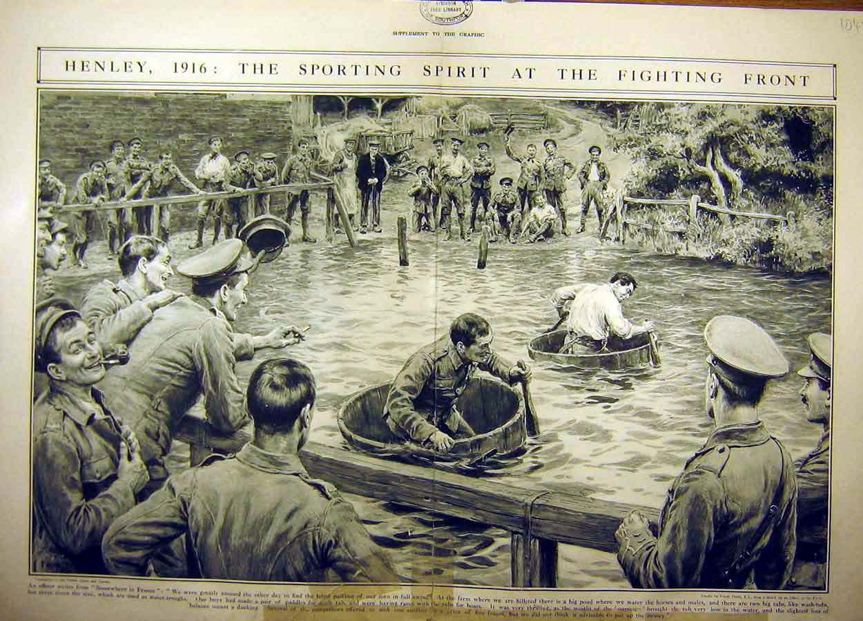 Print 1916 Henley Boat-Race Wash-Tubs Soldiers Troops Ww1 04Tddd1 Old Original
