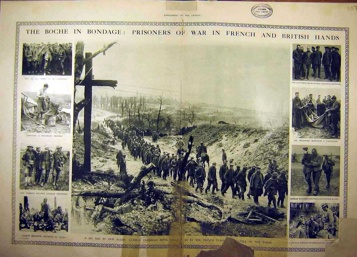 Print 1916 Boche Ww1 Prisoners War Allies Battle Somme 07Tddd1 Old Original