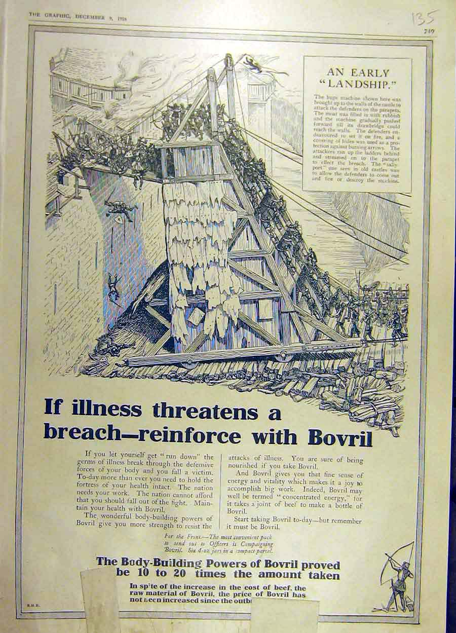 Print 1916 Bovril Advert Body-Building Beef-Extract 35Ddd1 Old Original