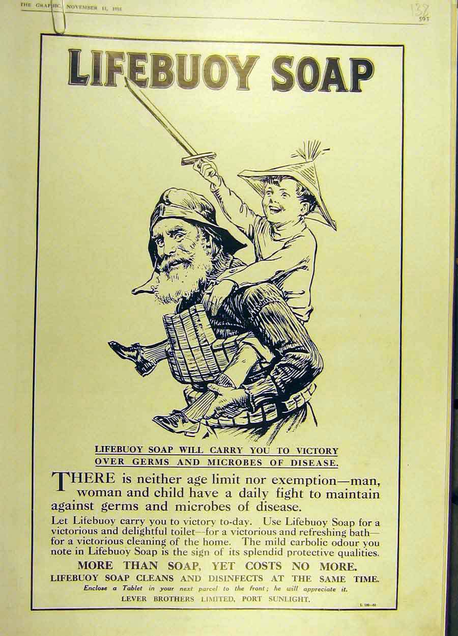 Print 1916 Soap Lifebuoy Play-Soldiers Lver Brothers Advert 38Ddd1 Old Original