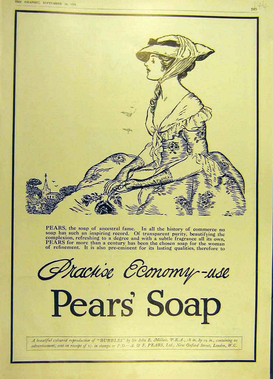 Print 1916 Pear'S Soap Economy-Use Advert Lady Hat Rose 44Ddd1 Old Original