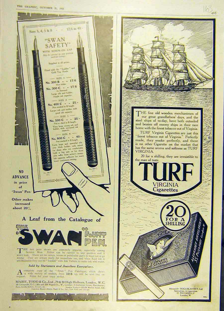 Print 1916 Swan Pen Advert Turf Virginia Cigarettes 63Ddd1 Old Original