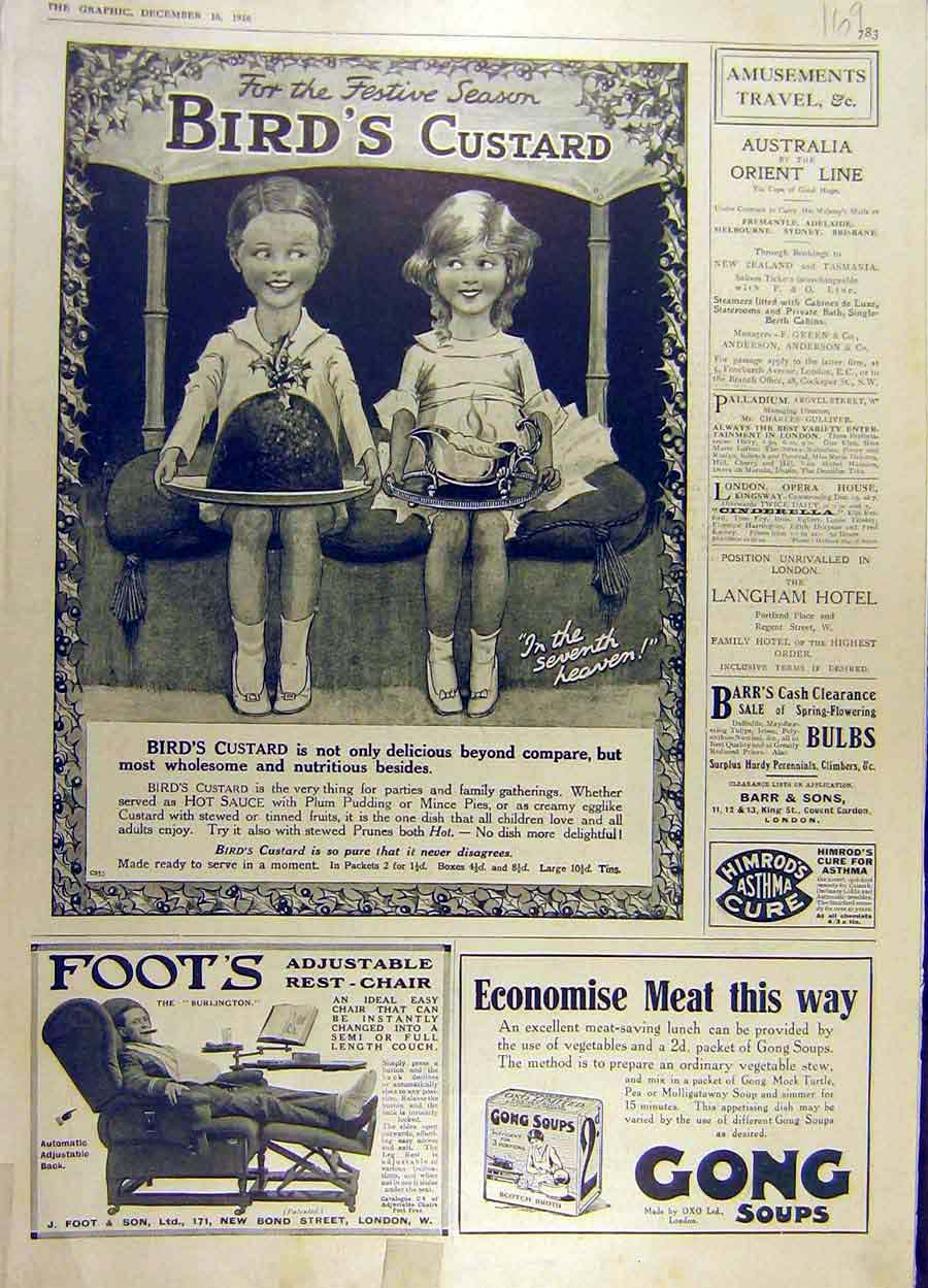 Print 1916 Bird'S Custard Advert Foot'S Chair Gong Soup 69Ddd1 Old Original